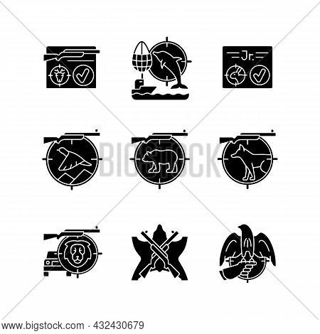 Wild Animals Hunting Black Glyph Icons Set On White Space. Big And Small Game Hunting. Shooting With