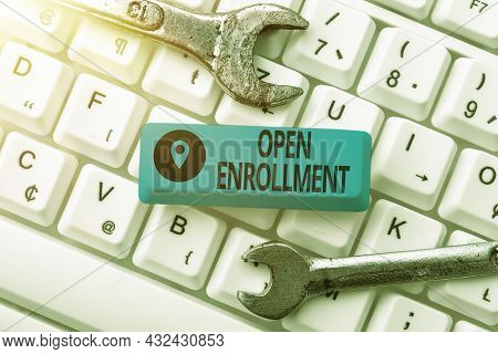 Text Caption Presenting Open Enrollment. Concept Meaning Policy Of Allowing Qualifying Students To E