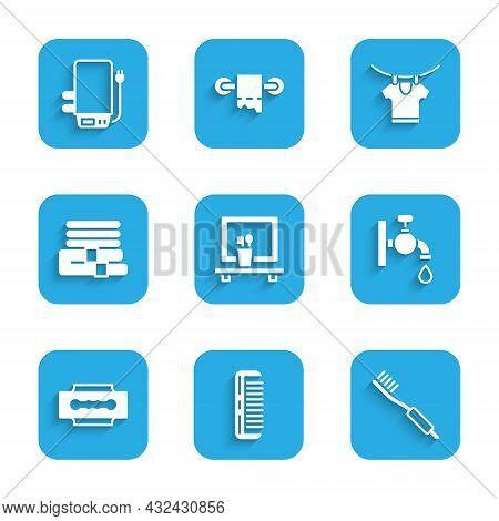 Set Washbasin Mirror, Hairbrush, Toothbrush, Water Tap, Blade Razor, Towel Stack, Drying Clothes And