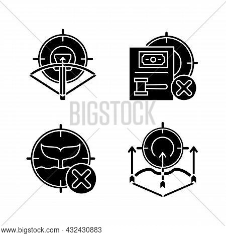 Hunting Provisions And Restrictions Black Glyph Icons Set On White Space. Archery. Bow And Crossbow.