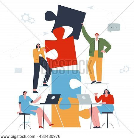 Concept Of Teamwork. Two People Connecting Puzzle Pieces Into One, With People At The Table Working