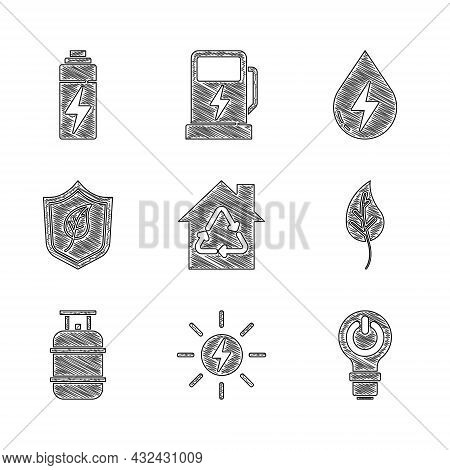 Set Eco House With Recycling, Solar Energy Panel, Light Bulb Lightning, Leaf Or Leaves, Propane Gas
