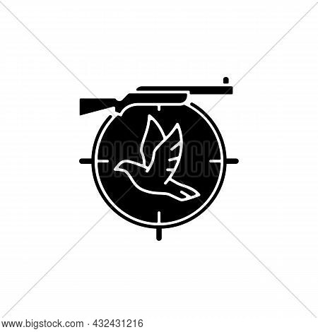 Pigeon Shooting Black Glyph Icon. Bird Shooting Competition. Roost And Flighting Dove Hunt. Woodpige