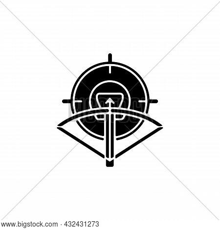 Hunting With Crossbow Black Glyph Icon. Archery Season. Use Camouflage And Game Call To Attract Prey