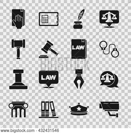 Set Security Camera, Scales Of Justice, Handcuffs, Feather Inkwell, Judge Gavel, Oath On Holy Bible