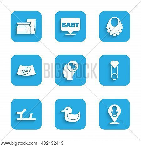 Set Baby Dummy Pacifier, Rubber Duck, Clothes Pin, Shoes, Ultrasound Of Baby, Bib And Food Icon. Vec