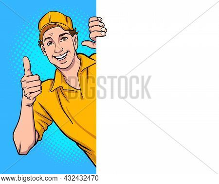 Peeking Man Delivery Employee Giving Thumb Up Pop Art Comic Style
