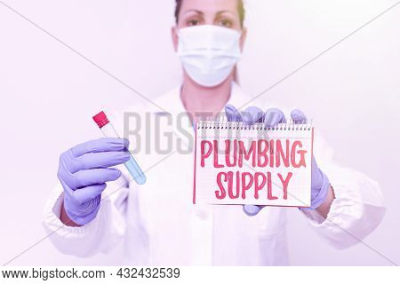 Writing Displaying Text Plumbing Supply. Internet Concept Tubes Or Pipes Connect Plumbing Fixtures A