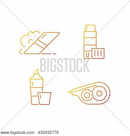 School Accessories Gradient Linear Vector Icons Set. Eraser For Artistic Use. Glue Stick. Highlighte