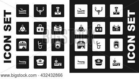 Set Pilot, Suitcase, Plane Propeller, Landing, Airport Board, Aircraft Steering Helm, Airplane Windo