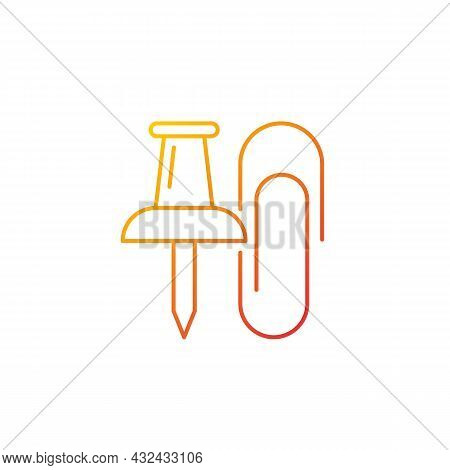 Pins And Paper Clips Gradient Linear Vector Icon. Office Supplies. Binding Paper Sheets Together. Ha
