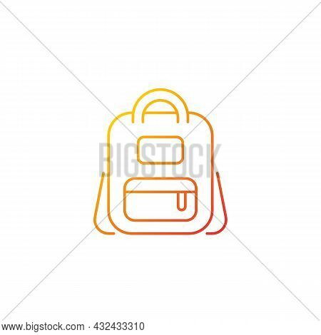 Schoolbag Gradient Linear Vector Icon. Bag For Carrying Books And Stationery Items. Backpack For Sch