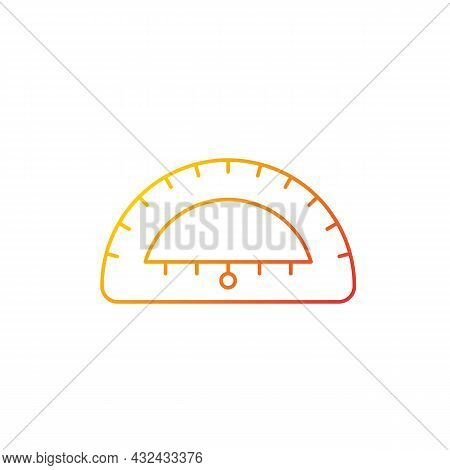 Protractor Gradient Linear Vector Icon. Instrument For Constructing, Measuring Angles. Simple Half-d