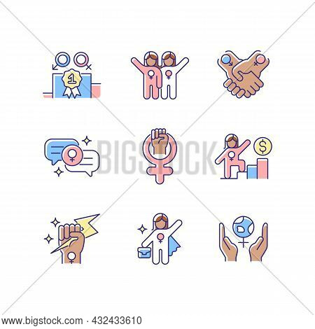 Feminist Movement Rgb Color Icons Set. Gender Parity. Female Friendship. Supportive Sisterhood. Woma