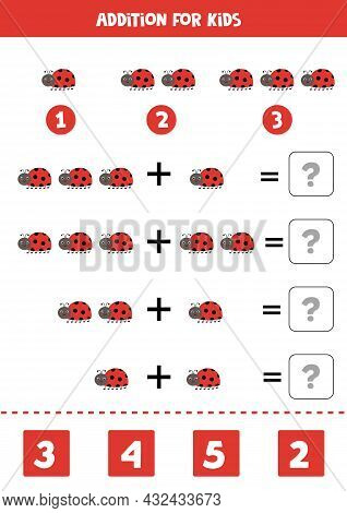 Addition With Cute Red Ladybug. Educational Math Game For Kids.