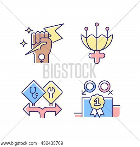 Women Empowerment Rgb Color Icons Set. Female Authority. Femininity Attribute. Career Option For Gir