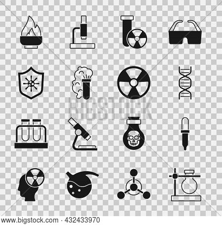 Set Test Tube Flask On Stand, Pipette, Dna Symbol, Radiation, Chemical Explosion, Shield Protecting
