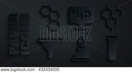 Set Alcohol Or Spirit Burner, Chemical Formula, Funnel Filter, Test Tube And Flask, H2o And Icon. Ve
