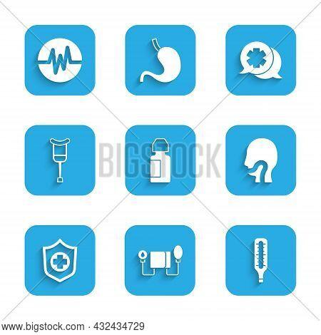Set Eye Drop Bottle, Blood Pressure, Medical Thermometer, Sore Throat, Life Insurance In Hand, Crutc