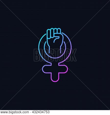 Female Symbol Gradient Vector Icon For Dark Theme. Pride In Sisterhood. Clenched Fist In Venus Sign.