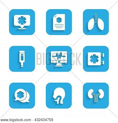 Set Monitor With Cardiogram, Sore Throat, Human Kidneys, Medical Symbol Of The Emergency, Dialogue D