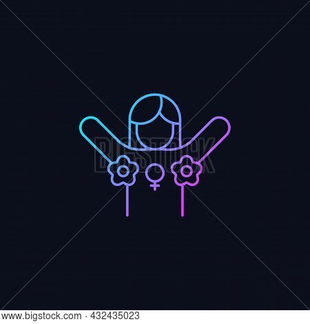 Radical Feminism Gradient Vector Icon For Dark Theme. Promoting Rights For Women. Challenging Existi