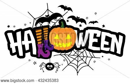 Happy Halloween - Halloween Quote On White Background With A Cute Hanging Spider And Jack O Lantern