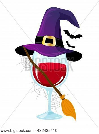 One Glass On Wine In Witch Costume. - Red Wine With Witch Hat, Broomstick And Bats. Happy Halloween