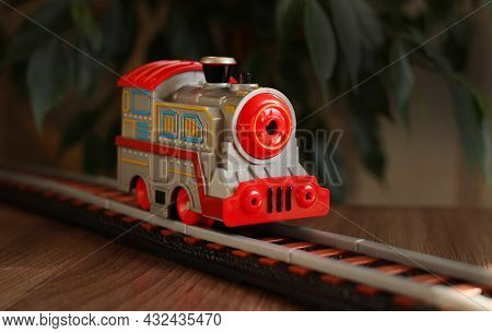 Childrens Railway With A Gray Train, Childrens Toy