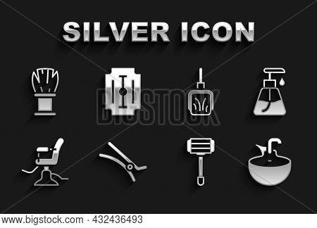 Set Hair Clip, Cream Cosmetic Tube, Washbasin, Shaving Razor, Barbershop Chair, Dustpan, Brush And B