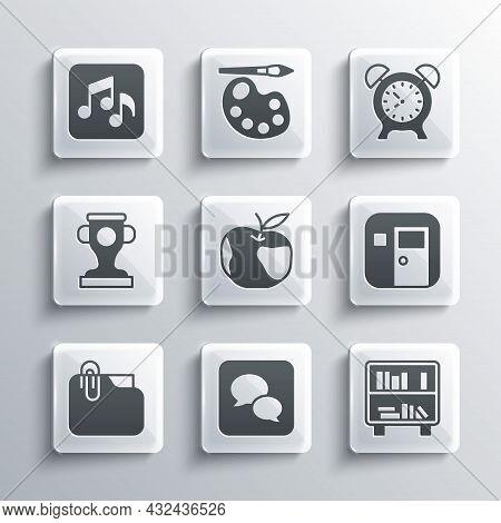 Set Speech Bubble Chat, Shelf With Books, School Classroom, Apple, Document Folder Clip, Award Cup,