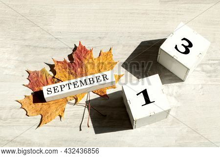 Calendar For September 13 : The Name Of The Month Of September In English, Cubes With The Number 13,