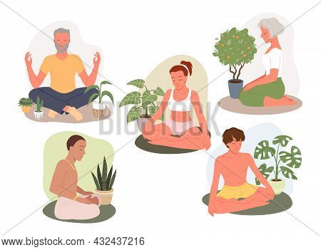 Cartoon Young Man Woman Characters Meditate In Lotus Position, Yoga Calm Zen Poses For Concentration