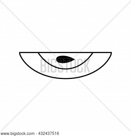 A Slice Of Sliced Apple Icon With A Seed. Vector Clipart On A White Blank Background.