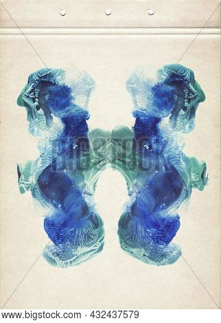 Rorschach Inkblot Color Test. Blue And Emerald Green Symmetric Watercolor Spots. Abstract Watercolor