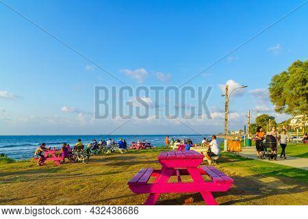 Haifa, Israel - September 07, 2021: View Of The Carmel Coast, Of The Mediterranean Sea, And The Prom