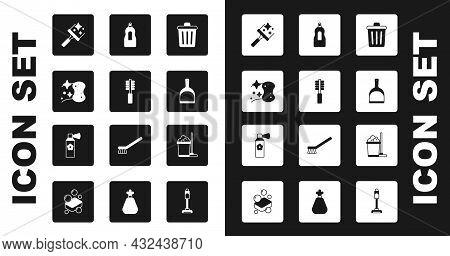 Set Trash Can, Toilet Brush, Sponge, Rubber Cleaner For Windows, Dustpan, Dishwashing Liquid Bottle,