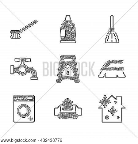 Set Wet Floor, Wipe Pack, Home Cleaning Service, Brush For, Washer, Water Tap, Handle Broom And Icon