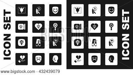 Set Comedy Theatrical Mask, Psychology, Psi, Rorschach Test, Broken Heart Divorce, Man Graves Funera