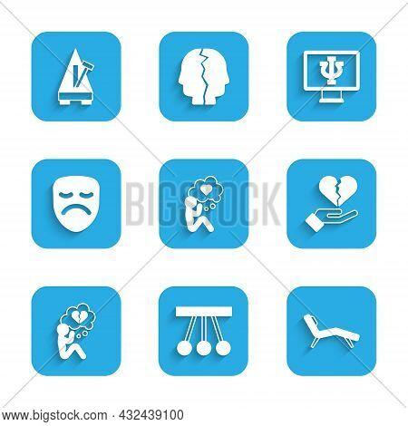 Set Head With Heart, Pendulum, Armchair, Broken Or Divorce, Drama Theatrical Mask, Psychologist Onli