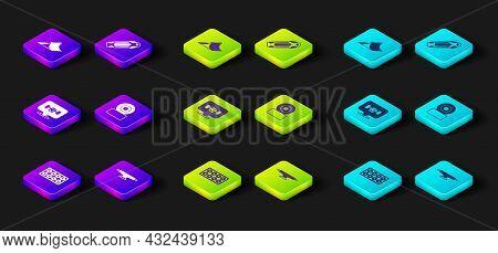 Set Skateboard Wheel, Deck And Park Icon. Vector