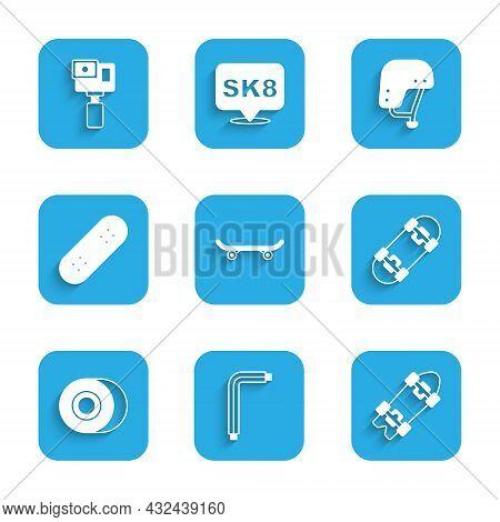 Set Skateboard, Tool Allen Keys, Longboard Or Skateboard, Wheel, Helmet And Action Camera Icon. Vect