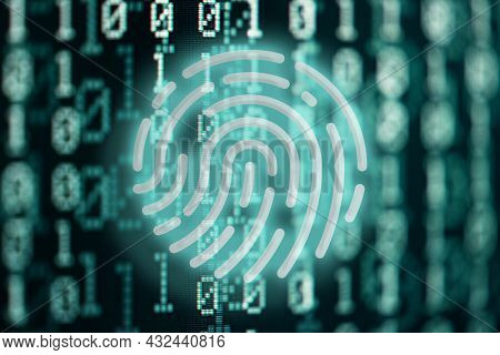 Glowing Fingerprint Symbol Against Binary Code Digital Background, Internet Security And Privacy Con