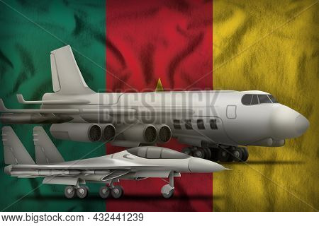 Air Forces On The Cameroon Flag Background. Cameroon Air Forces Concept. 3d Illustration
