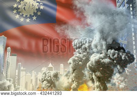 Large Smoke Pillar With Fire In Abstract City - Concept Of Industrial Disaster Or Terroristic Act On