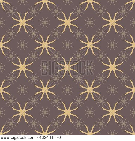 Floral Minimalist Seamless Pattern. Abstract Geometric Background With Vintage Tiny Silhouettes. Sim