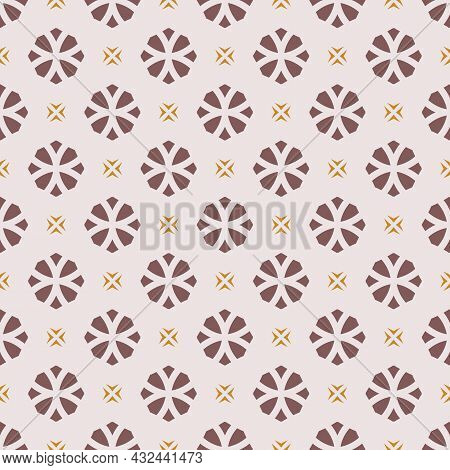 Vector Geometric Floral Seamless Pattern. Simple Ornament With Small Flower Silhouettes, Crosses, Di