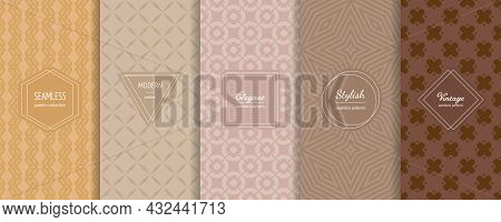 Geometric Seamless Patterns Collection. Vector Set Of Stylish Pastel Backgrounds With Elegant Minima