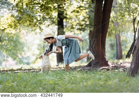 Smiling Asian Woman In Striped Sundress Cuddling Yellow Labrador In Park