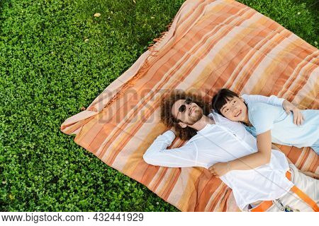Happy smiling young multiethnic couple laying on blanket on green grass in park top view